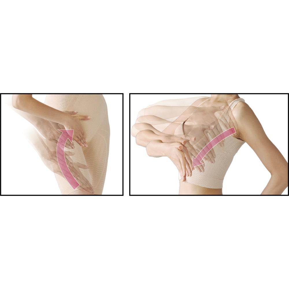 桜香流セルスルーエステ タンクトップ&ガードル(同色同サイズ) -セルスルーエステシリーズでは- 「なでる方向」を「セルスルーライン」でガイド。体の中心に向かって、気がついた時になでて仕上げて。