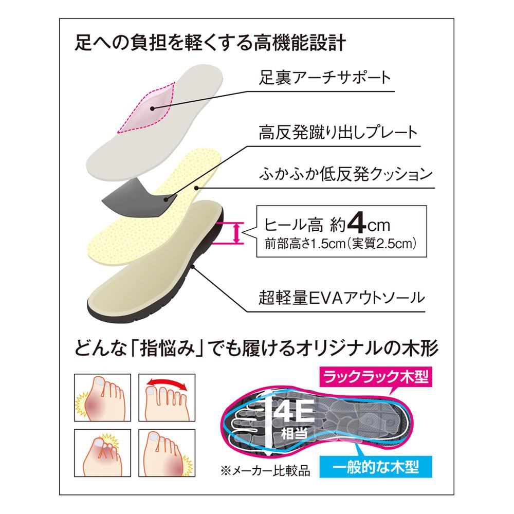 RakkuRakku/ラックラック 空飛ぶ本革パンプス ウォーキングの負担を軽くする高機能設計。ただゆったりしているだけじゃない!どんな「指悩み」でも履けるオリジナル木型。