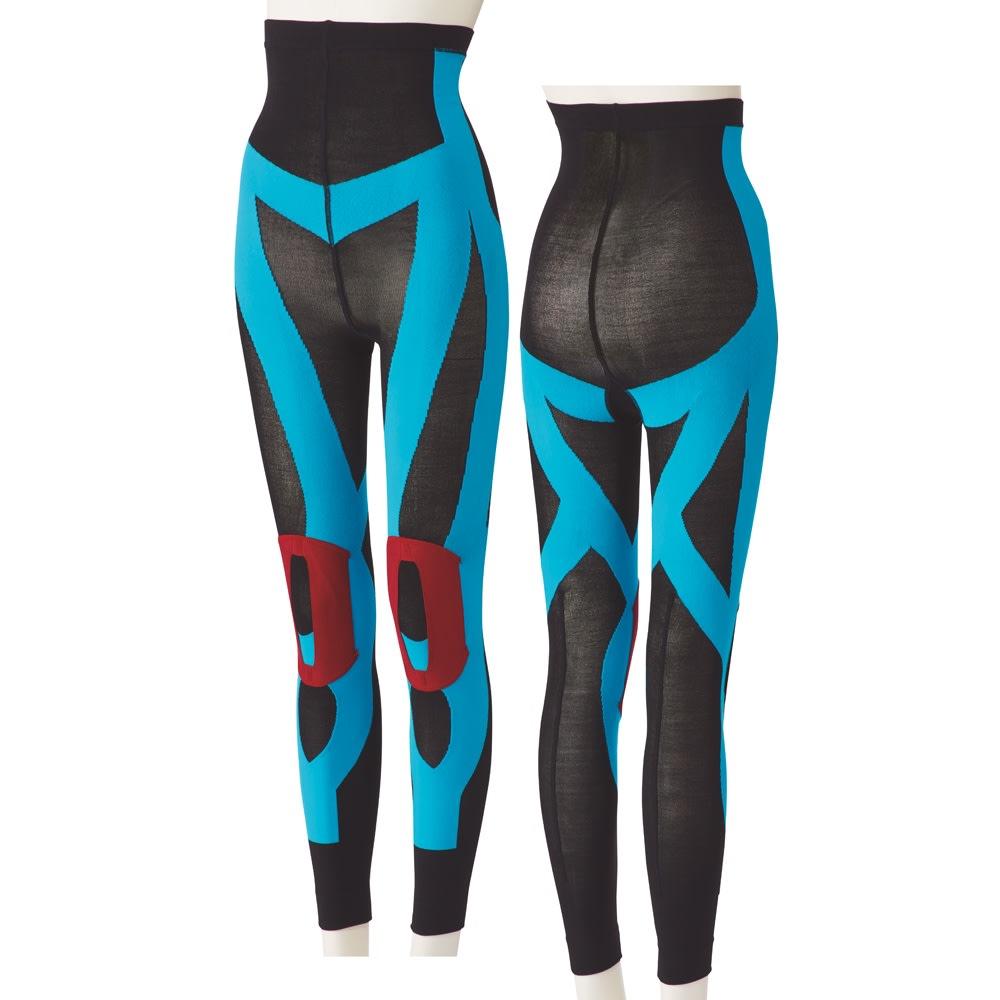 グングンウォークW ※イメージ ひざベルトやテーピング編みでふくらはぎ・スネ・内もも・外ももの筋肉をサポート。脚を前に出しやすく。 腰をサポートしながら、お尻を補整し美しいヒップラインに。