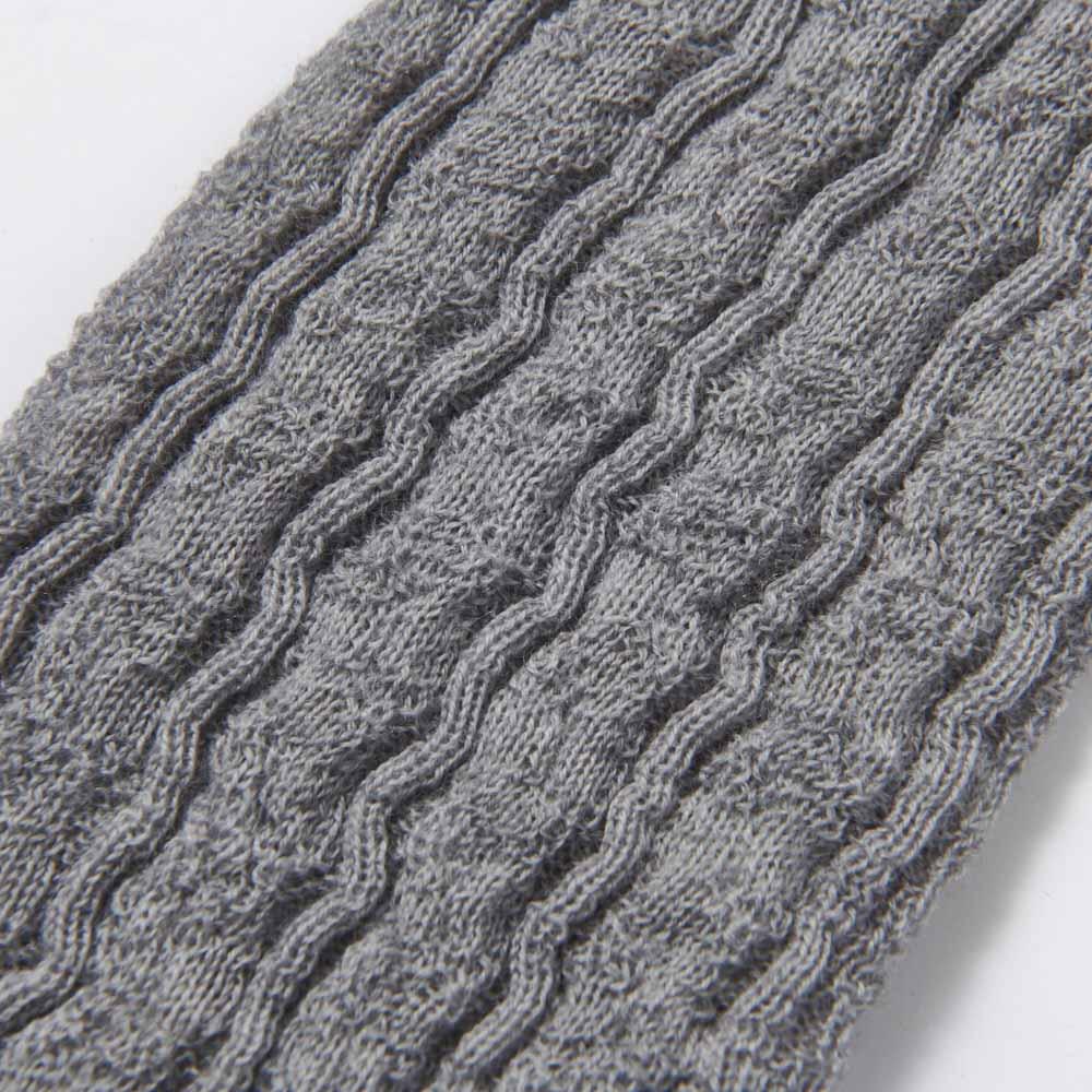 シルク美人シリーズ メリノウール×内側起毛シルク UVアームウォーマー(日本製) 編み柄アップ