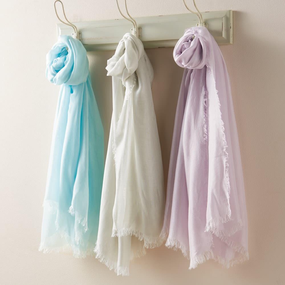 笹田織物 UVシルクエアリーストール(日本製) 左から(ウ)スカイブルー (ア)シルバーグレー (イ)ラベンダーミスト