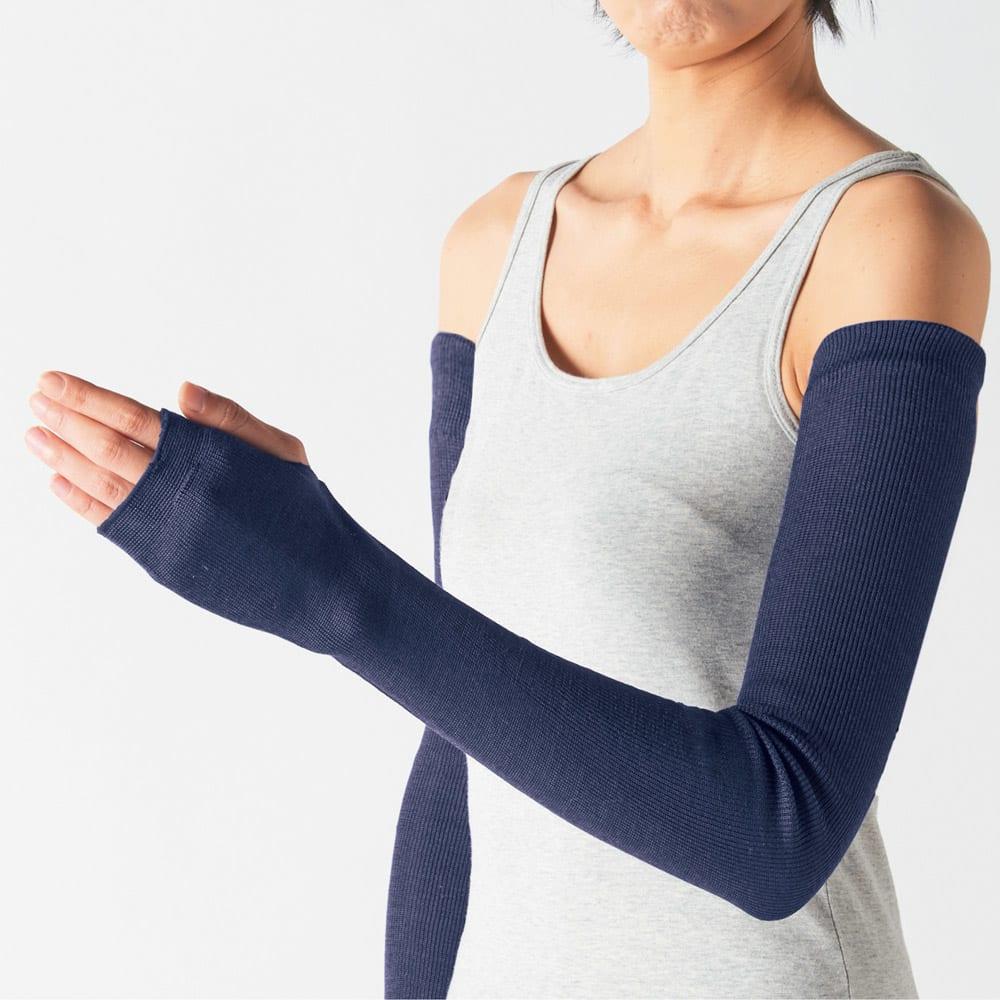 UVカットシルクシリーズ シルク100%UVロングアームカバー ノースリーブの腕もカバーする超ロング丈