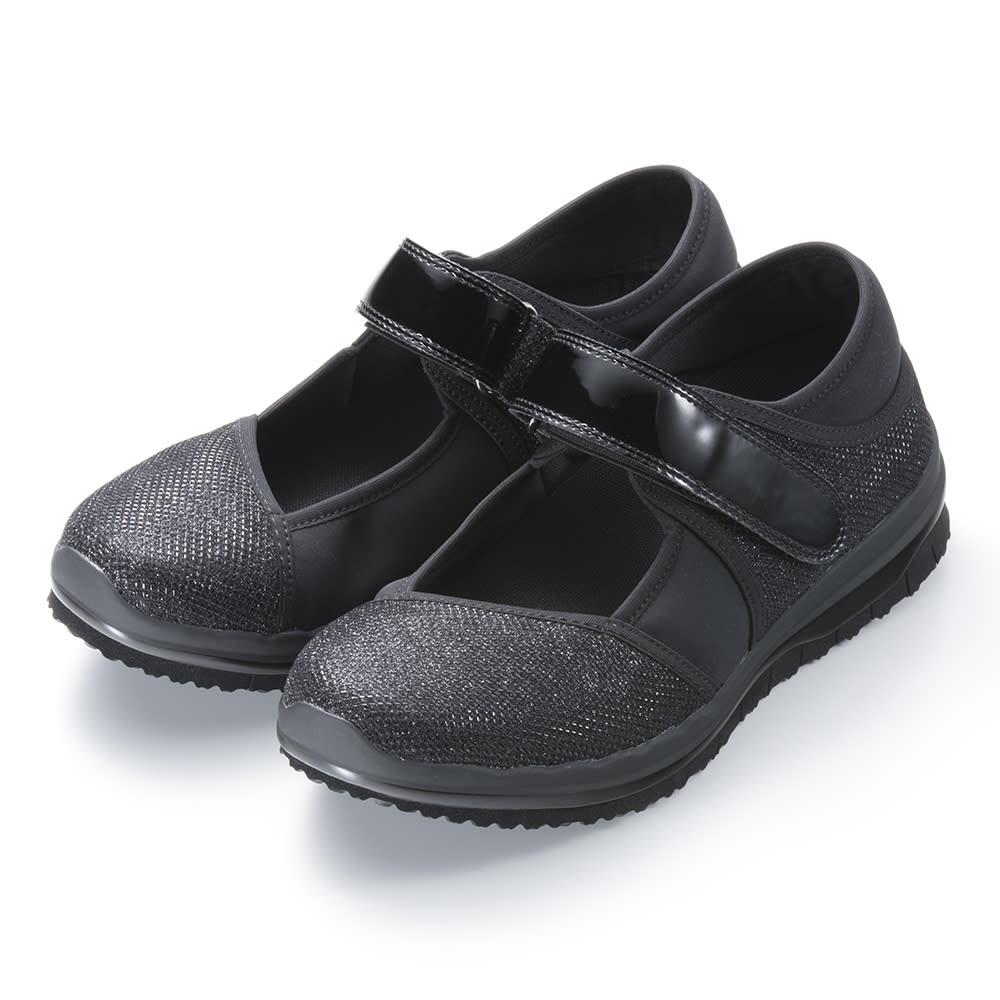 ヌーディウォークパンプススニーカー (ア)ブラック…様々な装いに合わせやすく、コーディネートしやすい定番カラー。