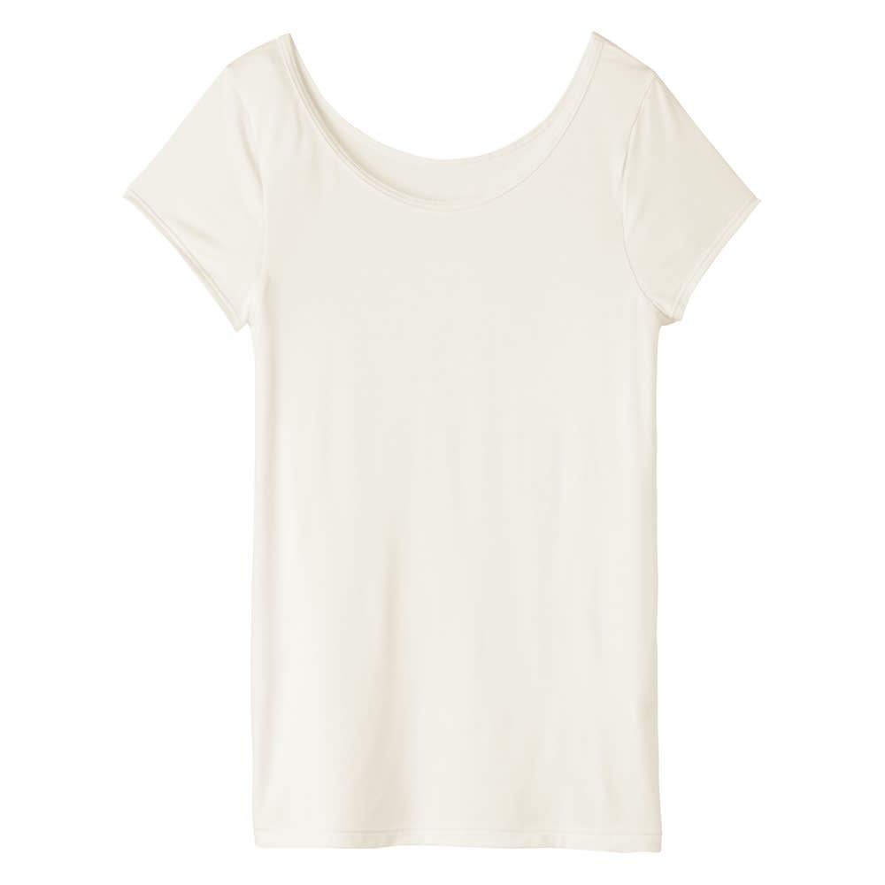 汗に負けない大人インナー バレない汗取りフレンチTシャツ (イ)ホワイト 汗取りインナーに見えない、使えるTシャツ!