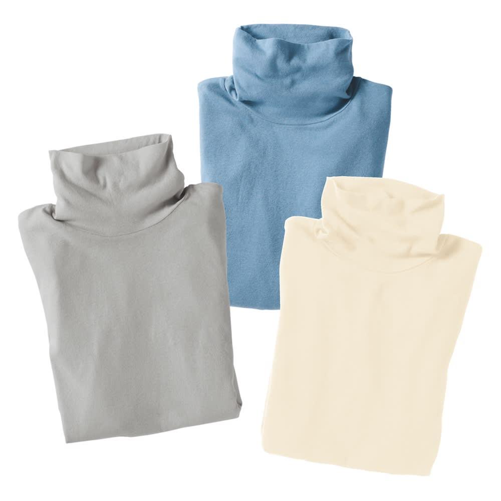 綿シフォン ハイネック半袖プルオーバー 左から(ア)ライトグレー (イ)サックス (エ)オフホワイト