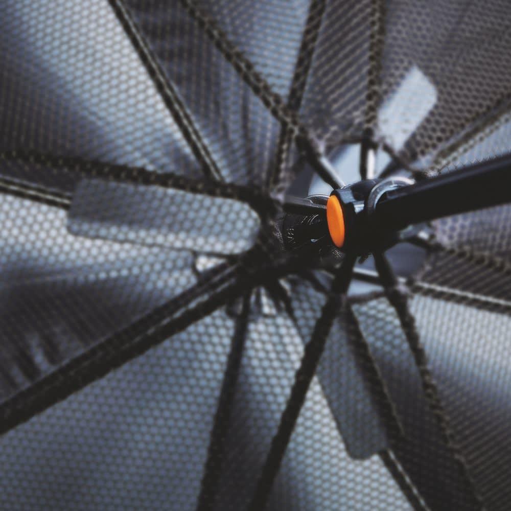 遮光1級 扇風機日傘 ピンク 50cm 3枚羽のファンが涼しい風を送り込みます。