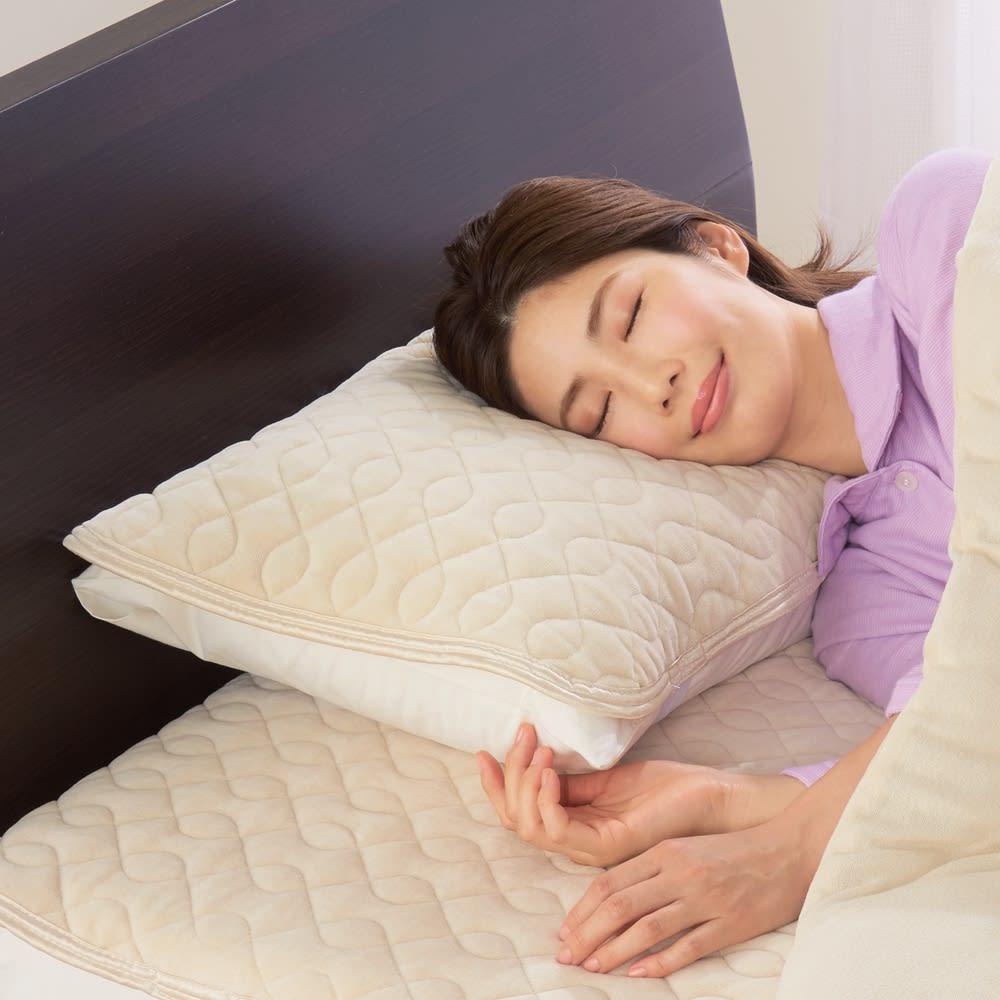 ファイテン 抗菌防臭リラックス寝具シリーズ リバーシブル 枕パッド(普通版サイズ)2枚組 ライトベージュ 枕カバー・ピローケース