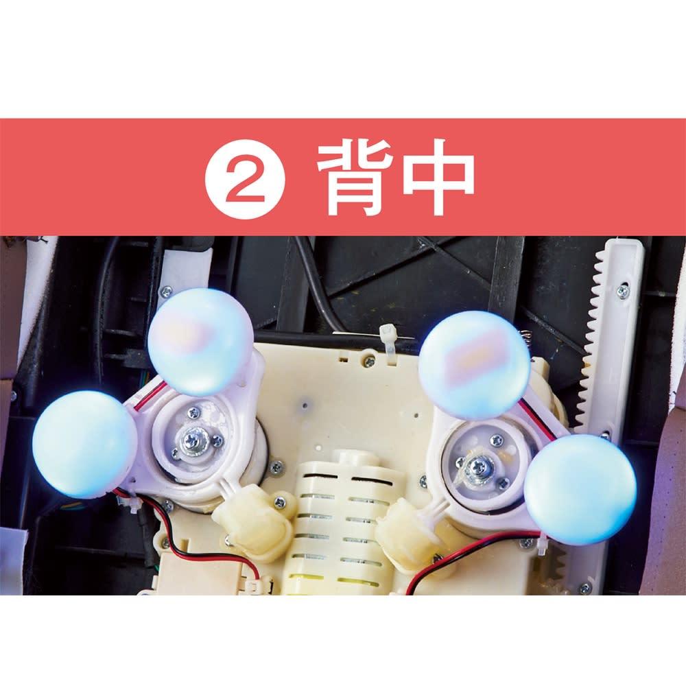 3Dメディカルシート ペルソナ 上下左右だけでなく前後に動く3D設計のもみ玉。背中のS字カーブに沿って気持ちいい!