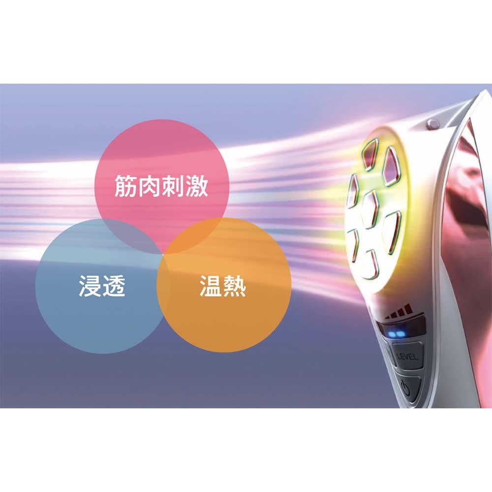 高周波美顔器 ルクセア ヴィサージュ ディノス50周年特別セット 【特許技術の3種の高周波でハリ・潤いケア】 3種類の活性型複合高周波VECH(ベック)を採用。浸透※・筋肉刺激・温熱の3つの作用で同時に肌にアプローチ。 ハリのある肌へ導きます。 ※角質層まで