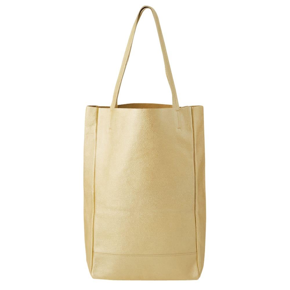 AQUALEATHER(R)/アクアレザー 洗えるたて型トートbag (イ)シャンパンゴールド