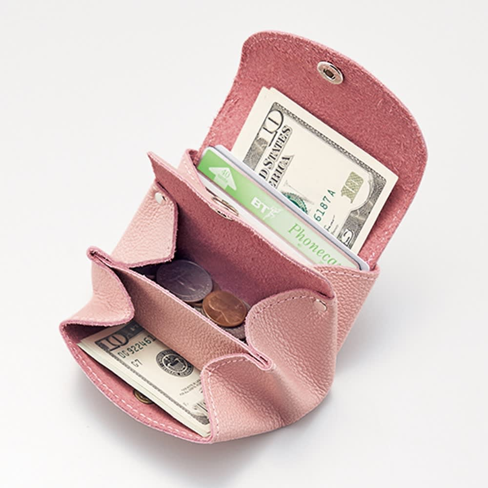 AQUALEATHER(R)/アクアレザー 洗える手乗りミニ財布CORON(コロン) (ア)パールピンク コンパクトなのにたっぷり入る。