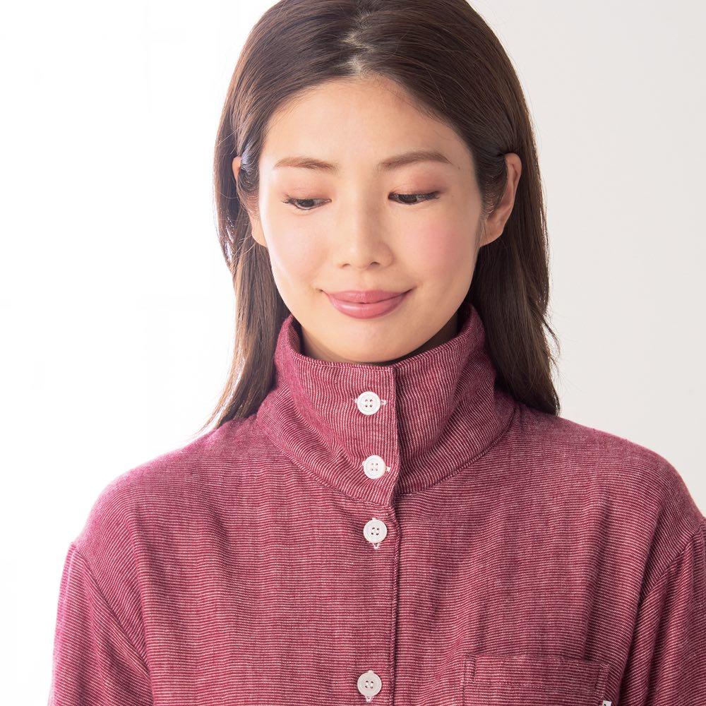 phiten/ファイテン 3重ガーゼ裏起毛パジャマ ボタンを留めれば首元まであったか。