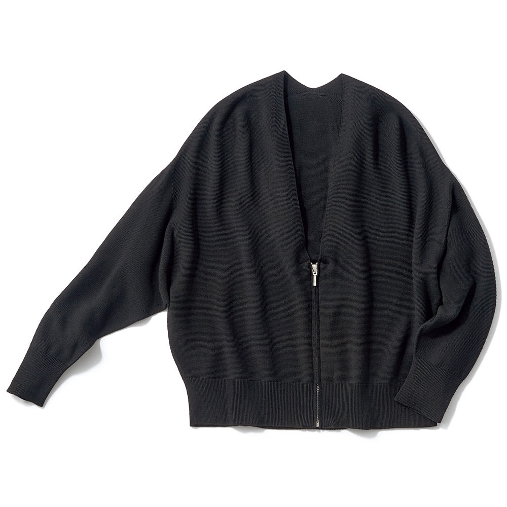 ホールガーメント(R) ガーター編み ジップカーディガン (ア)ブラック