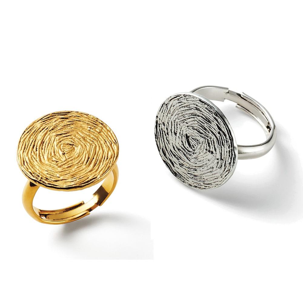 UNE LIGNE/ユヌリーニュ サークルデザイン リング(フランス製) 左から (ア)ゴールド系 (イ)シルバー系