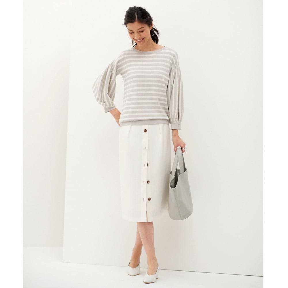 レイヤード風 Iライン スカート (ア)オフホワイト コーディネート例