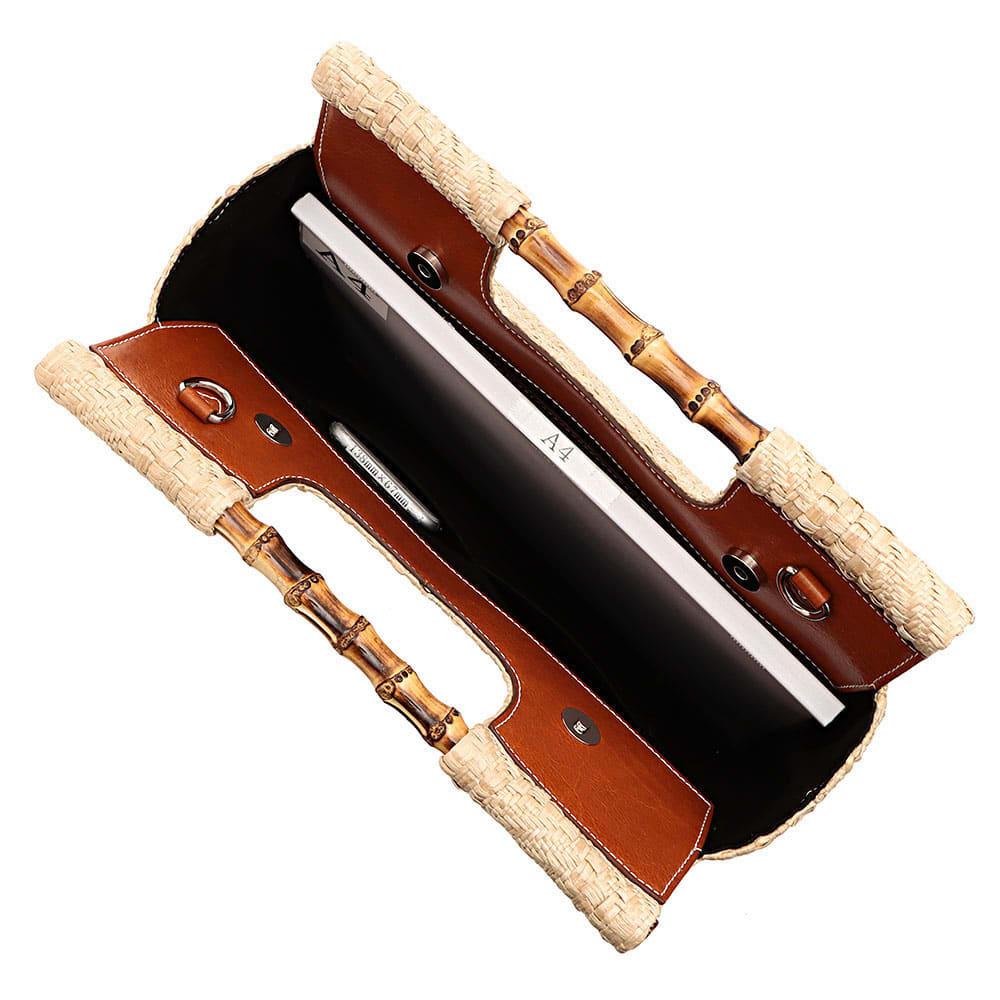 CLAUDIA FIRENZE/クラウディア フィレンツェ バンブーハンドル 2WAY メッシュ バッグ(イタリア製) A4横サイズ収納可/ 138mm×67mmスマートフォン 内ポケット収納可
