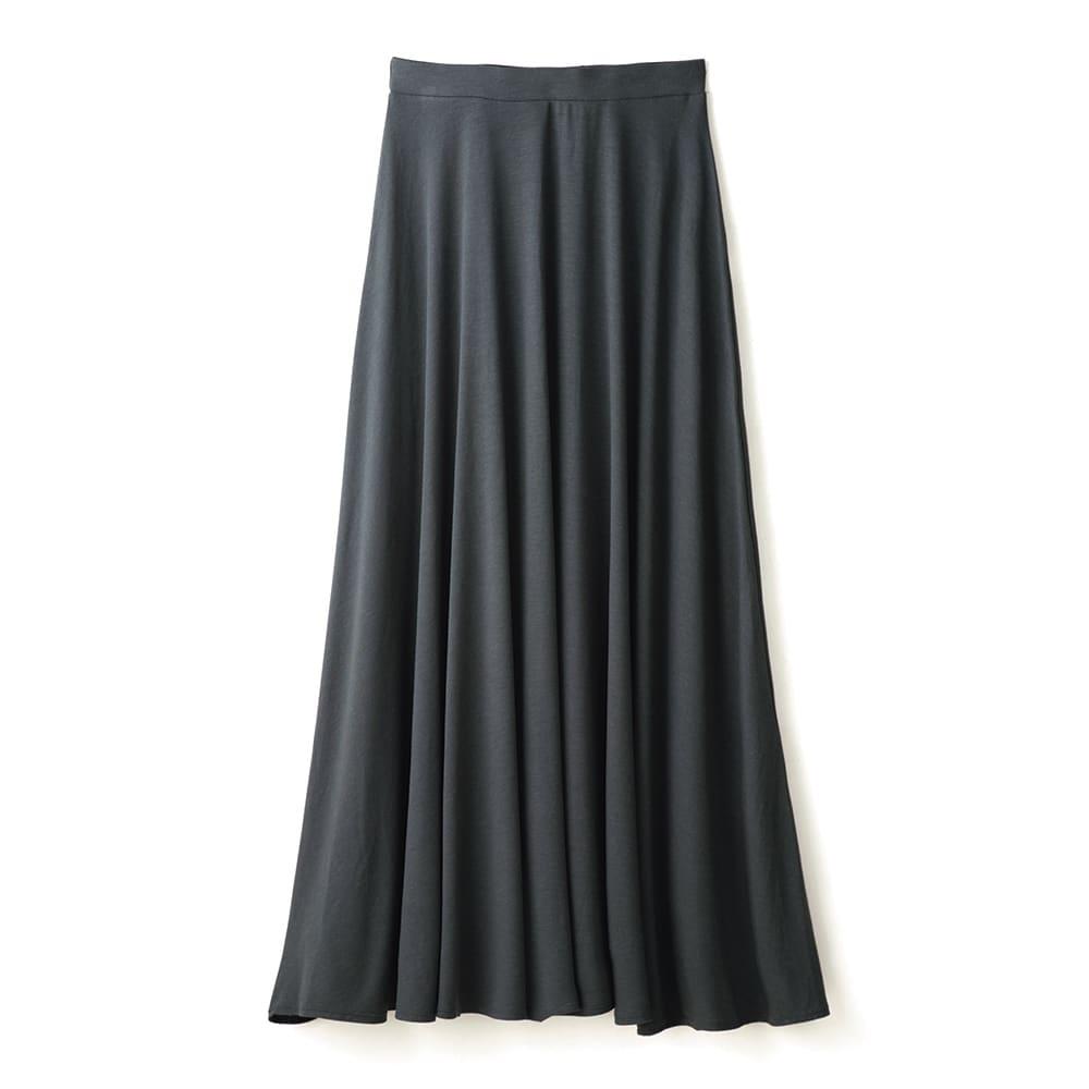 モダールベア天竺 サーキュラー風 スカート (イ)チャコールグレー