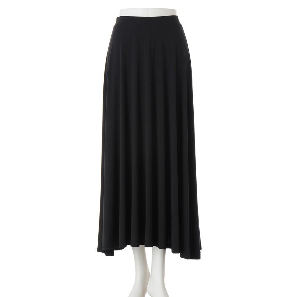 モダールベア天竺 サーキュラー風 スカート (ア)ブラック