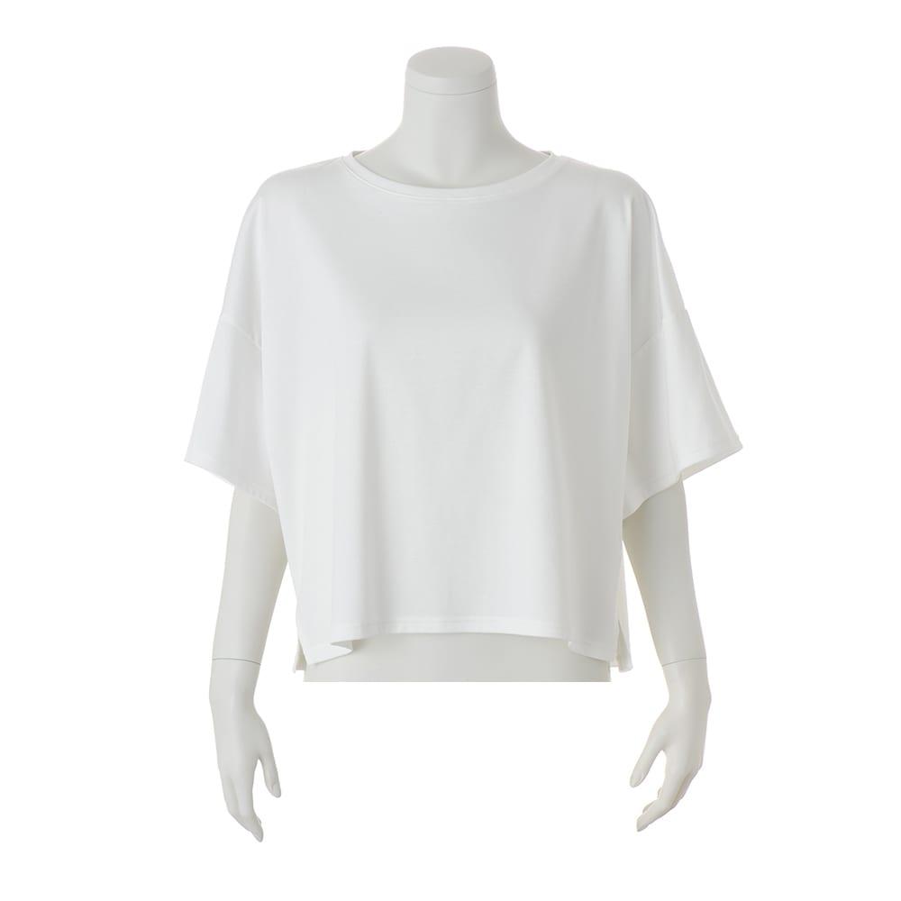 コンパクトコットン ビッグスリーブ Tシャツ (ア)オフホワイト