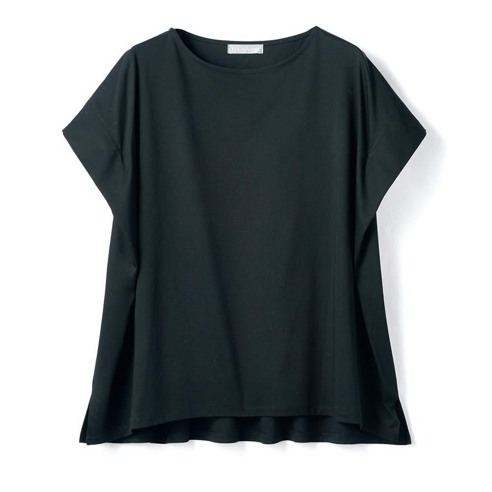 コンパクトコットン タック使い フレンチスリーブ Tシャツ (イ)ブラック