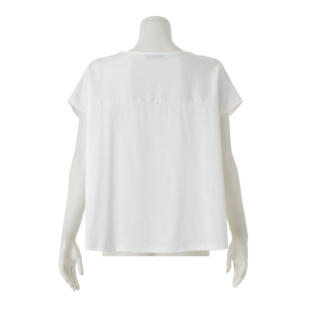 コンパクトコットン タック使い フレンチスリーブ Tシャツ