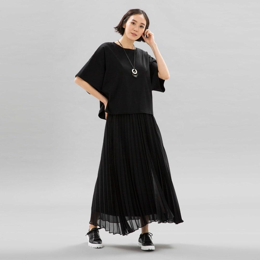レイヤードデザイン プリーツ ロングスカート (ア)ブラック×ブラック コーディネート例