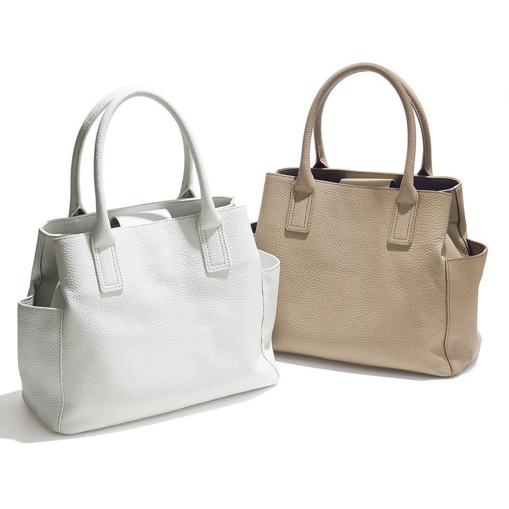 ポケットデザイン レザー トートバッグ 左から (ア)ホワイト (イ)オーク