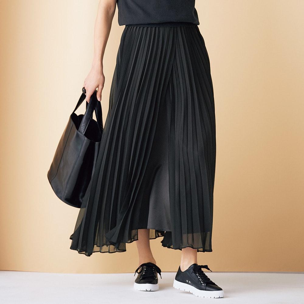 レイヤードデザイン プリーツ ロングスカート (ア)ブラック×ブラック 着用例