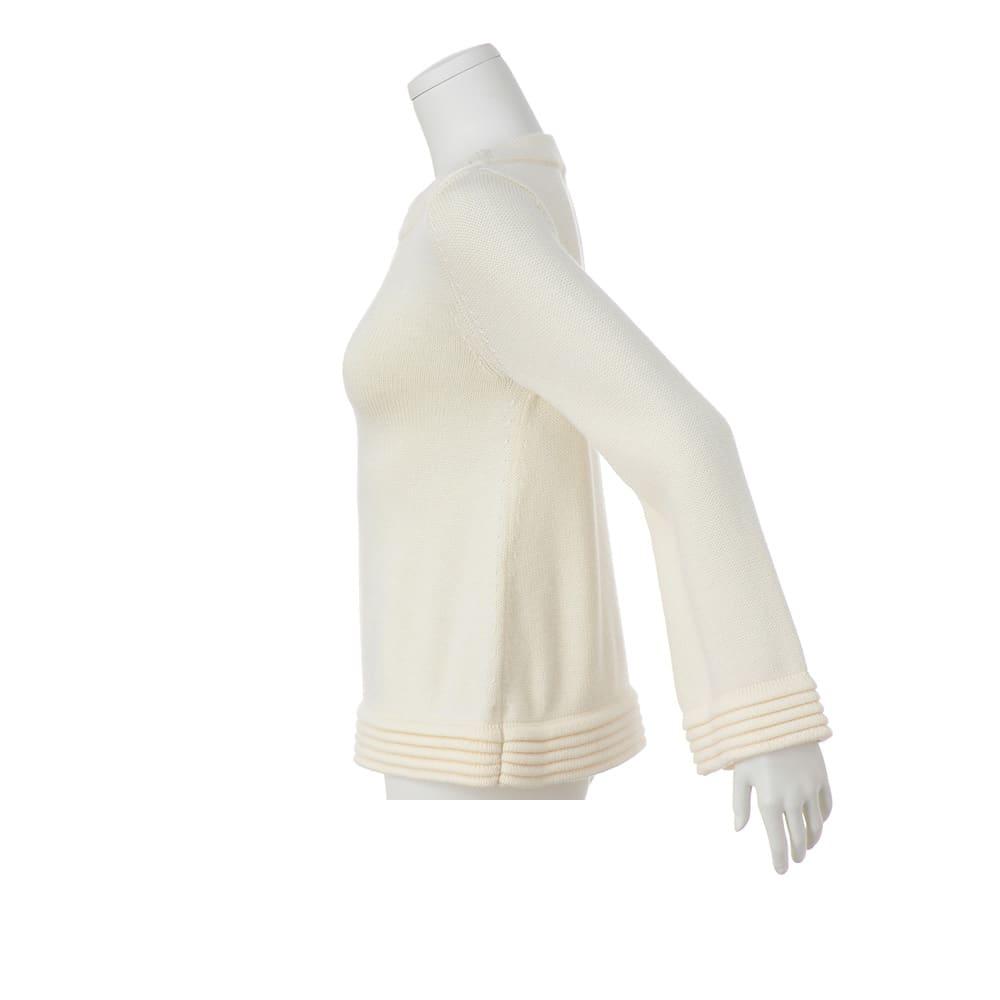 タック編み使い ウールニットプルオーバー