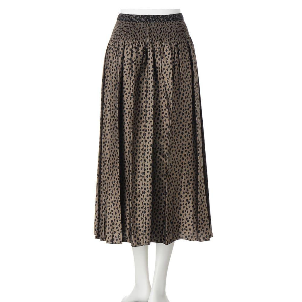 リバーシブルレオパード柄 ジャカードスカート(アンダースカート付き)