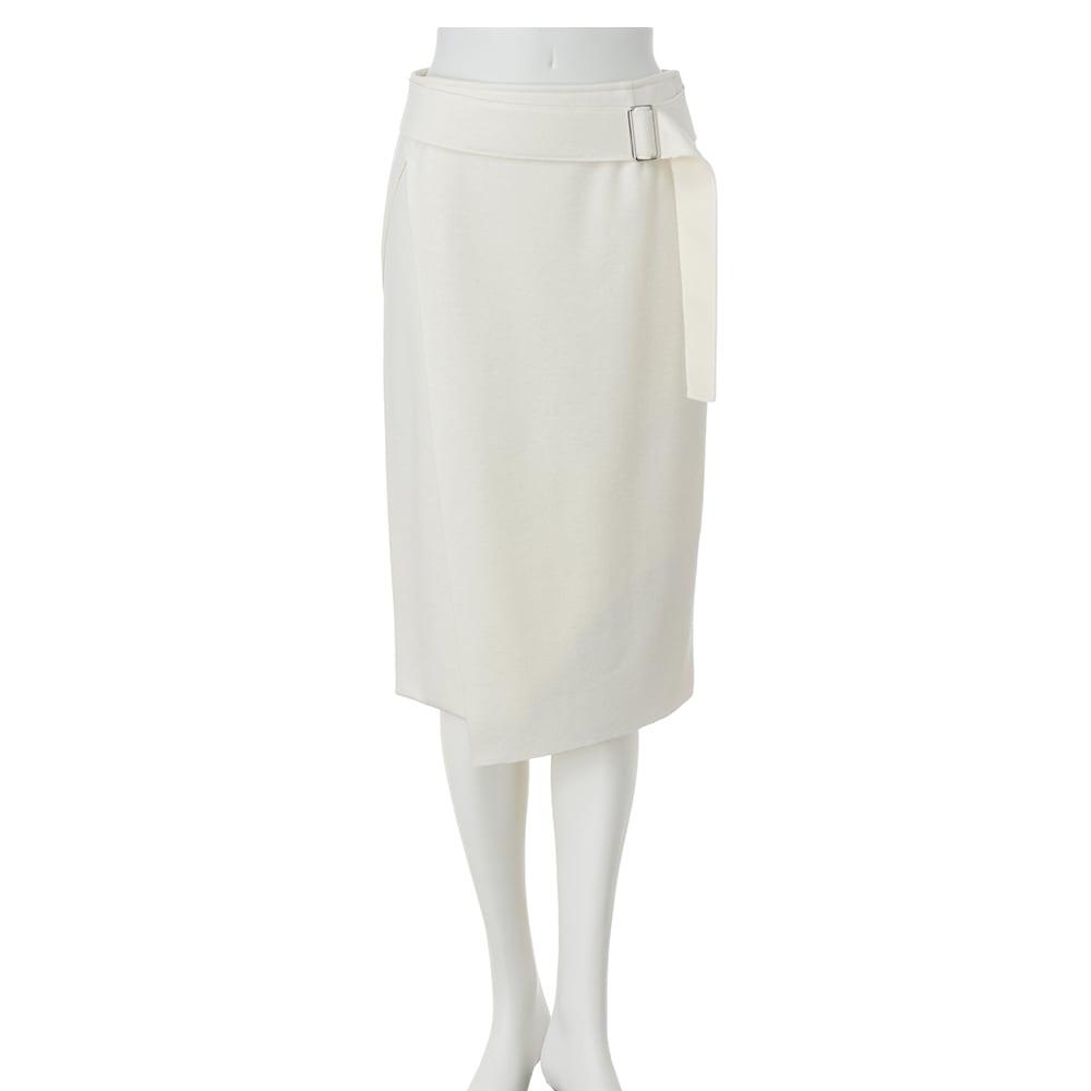 圧縮ウールジャージー ラップ風Iラインスカート (イ)オフホワイト
