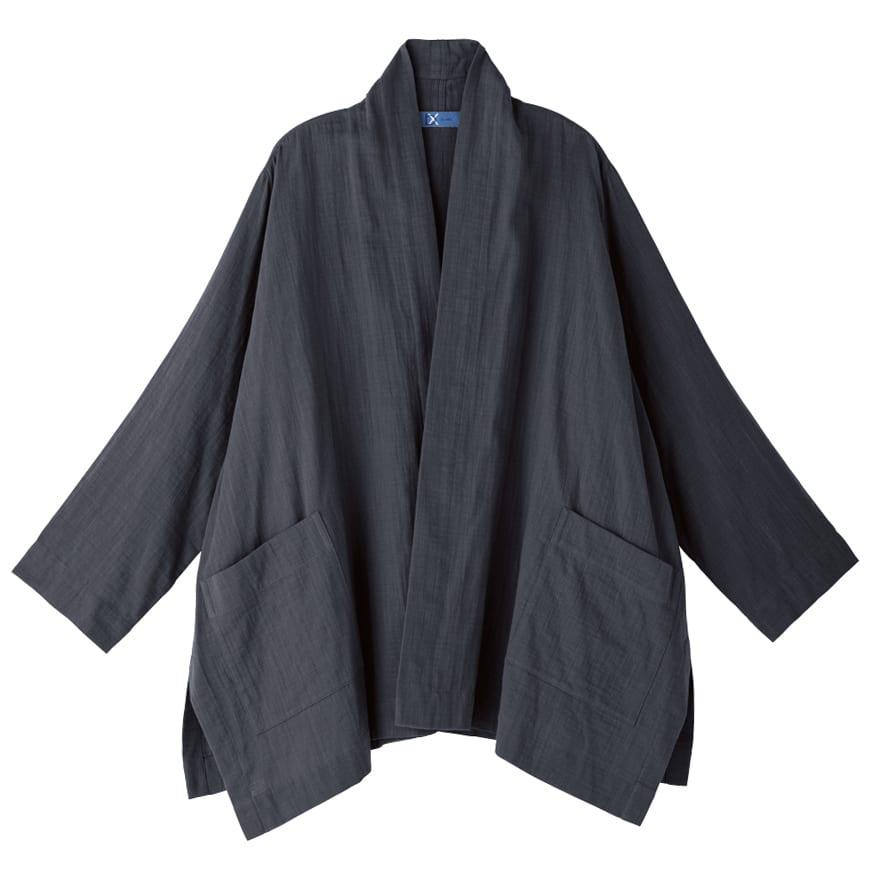 bx/ビーエクス ダブルガーゼきもの襟ビッグカーディガン (イ)ブラック