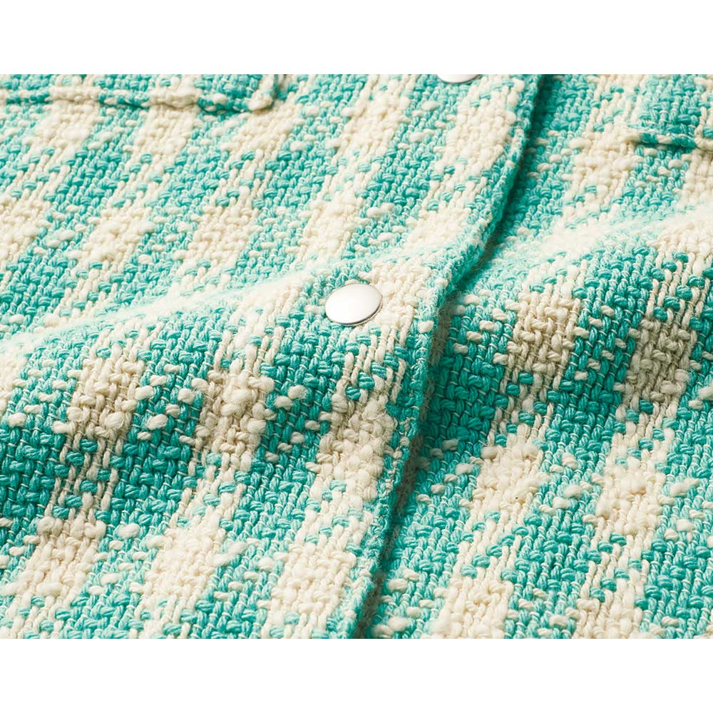 イタリア素材 オーバーサイズ ツイード シャツジャケット 生地アップ