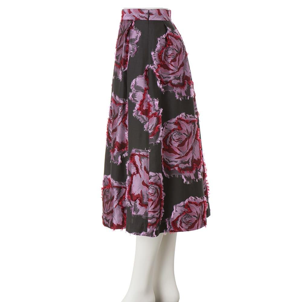 フランス素材 花柄 カットジャカード フレアースカート