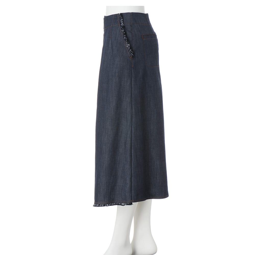 アシンメトリー フリンジ デニム風スカート