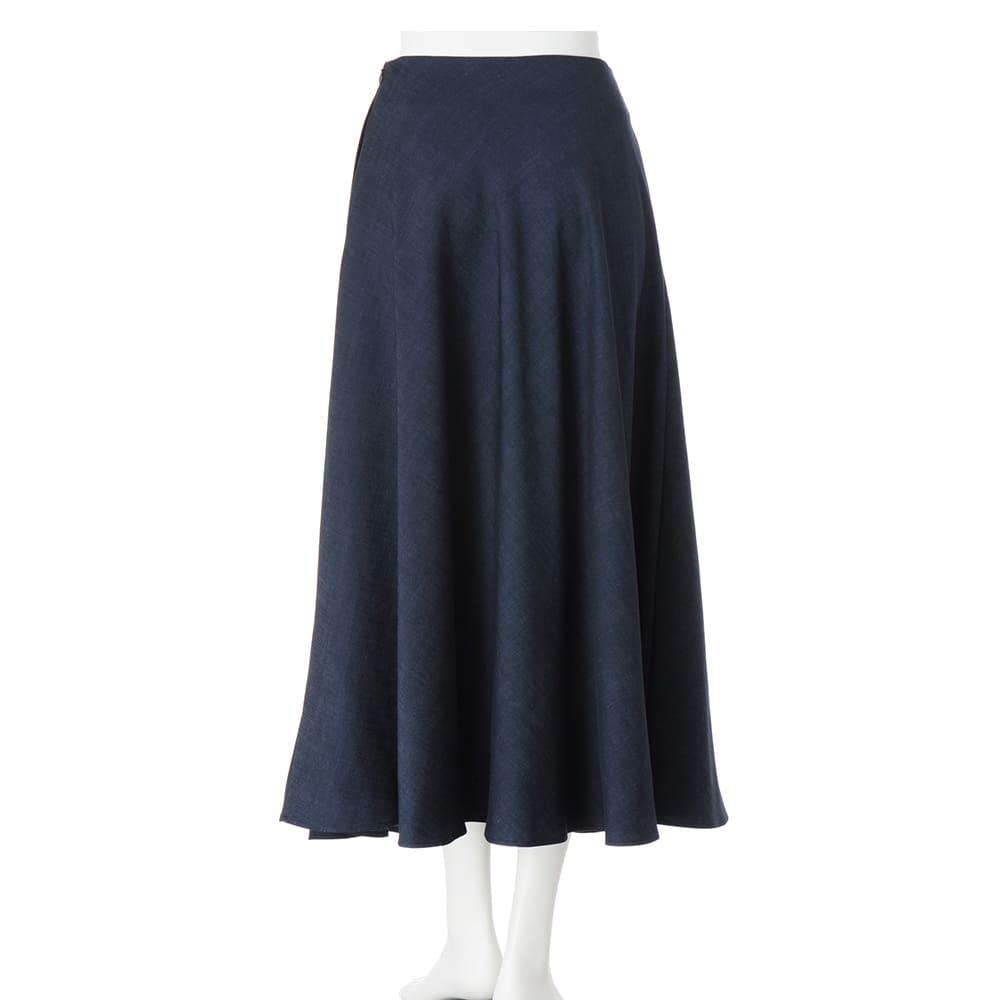 リヨセル混 デニム調素材 フレアースカート