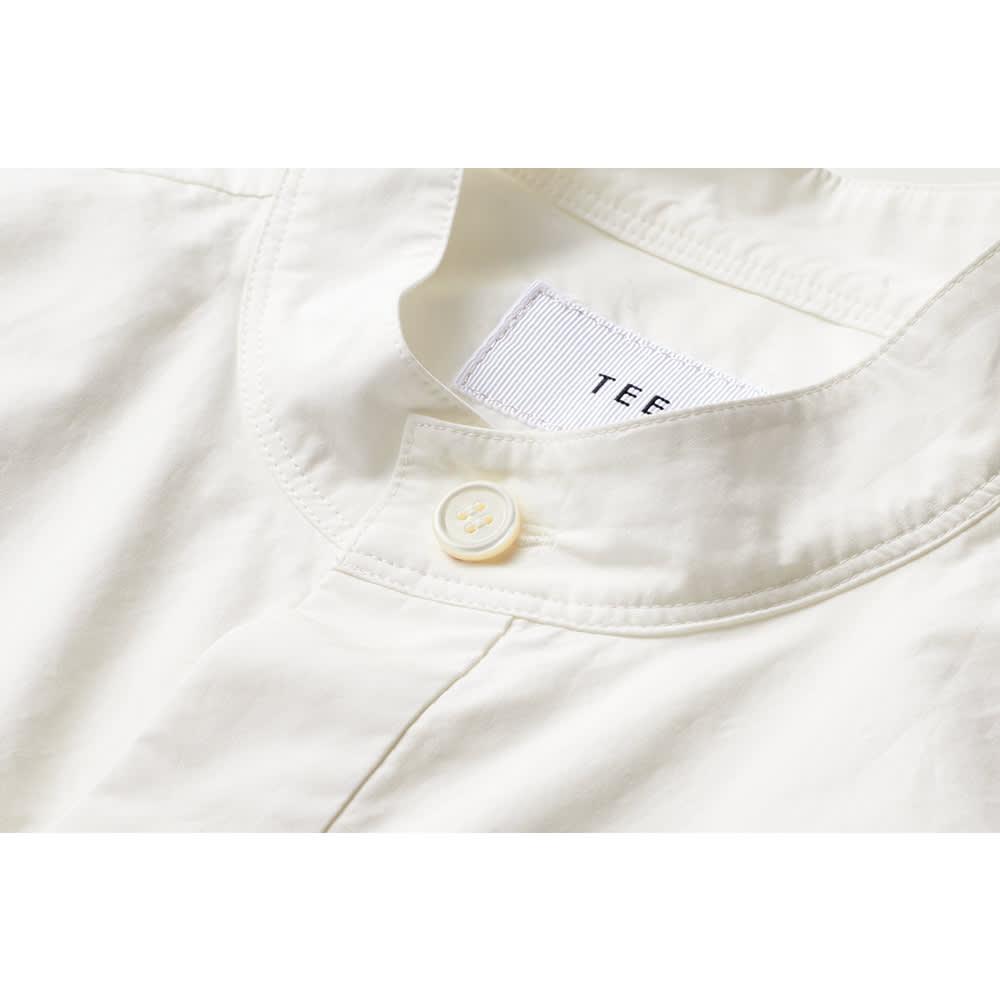 TEEE/ティー コットンタイプライター レイヤード風 バンドカラーシャツ ボタン部分