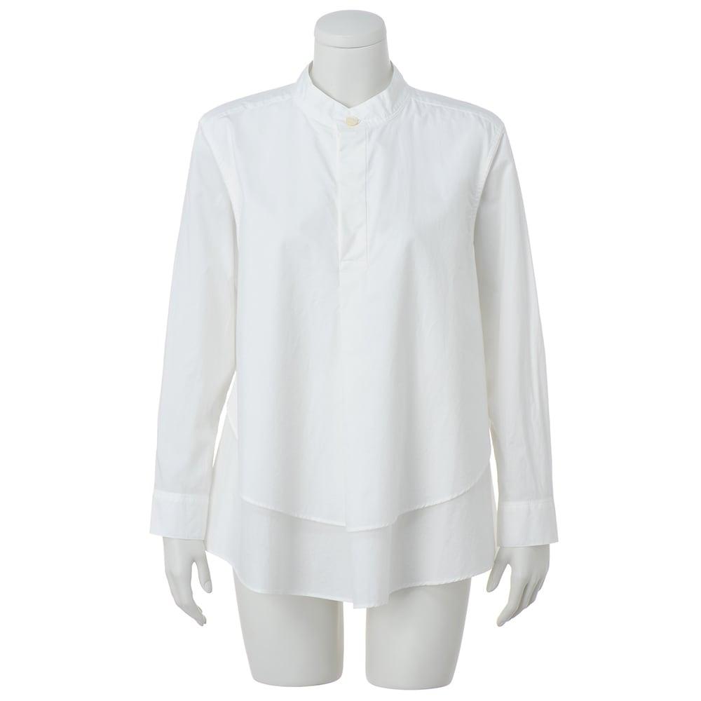 TEEE/ティー コットンタイプライター レイヤード風 バンドカラーシャツ