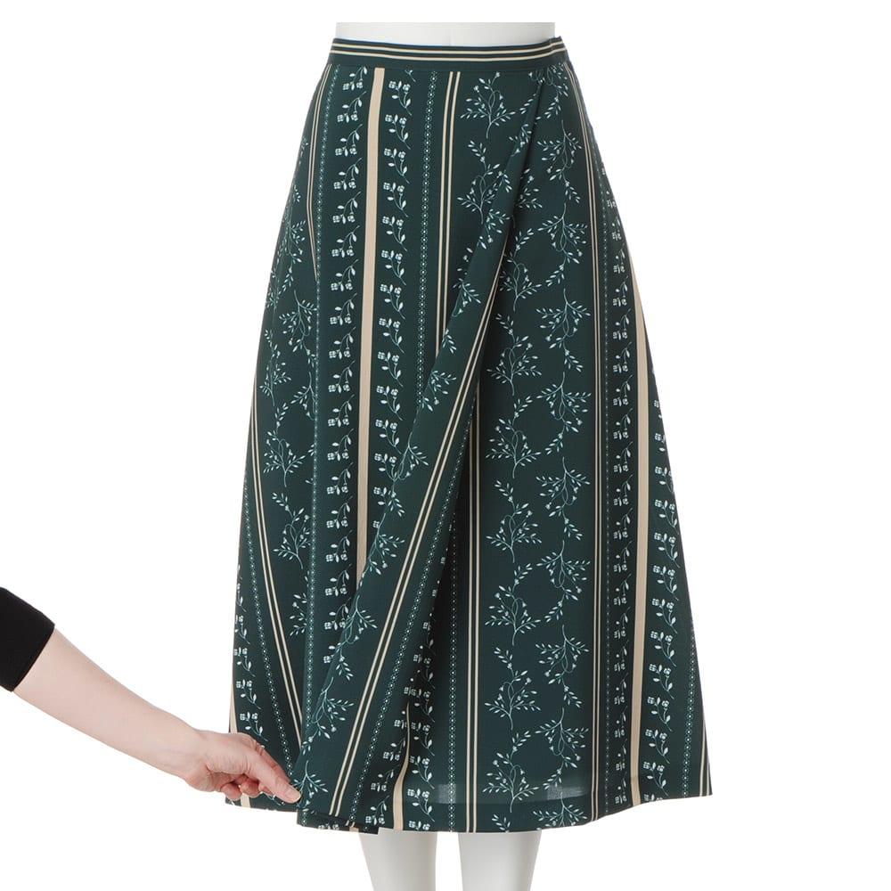 フラワー ストライプ柄 ラップ風 Aライン スカート