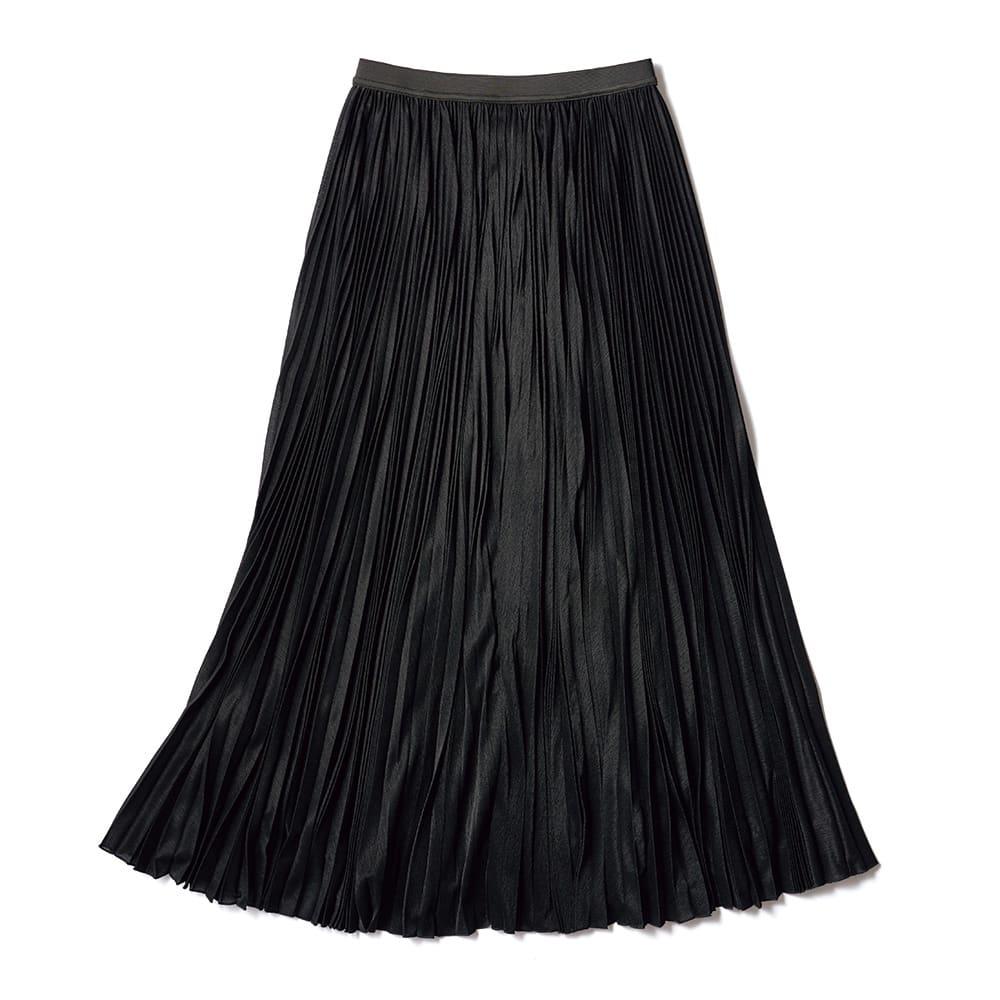 マキシ サーキュラー風 プリーツスカート (イ)ブラック