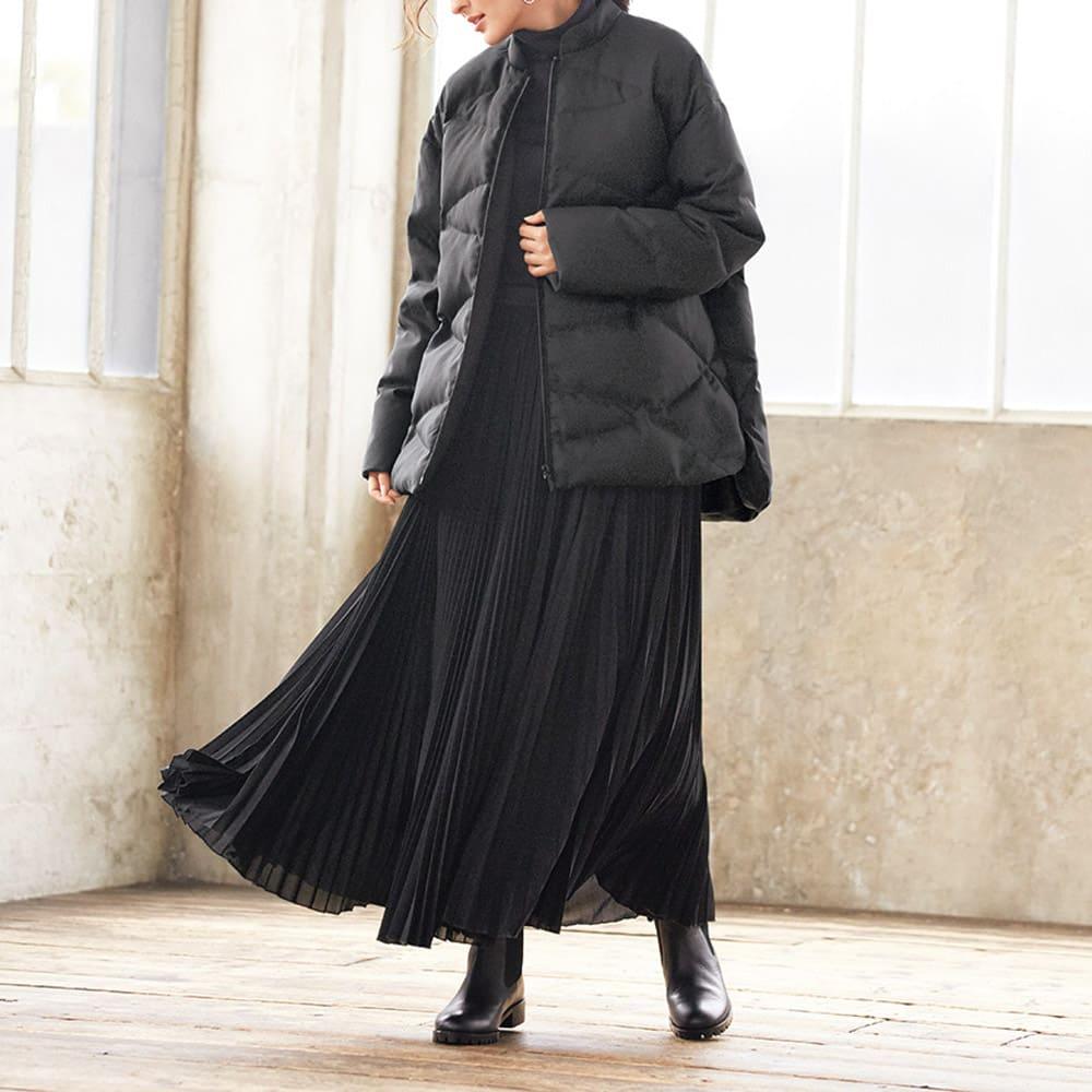 マキシ サーキュラー風 プリーツスカート (イ)ブラック コーディネート例