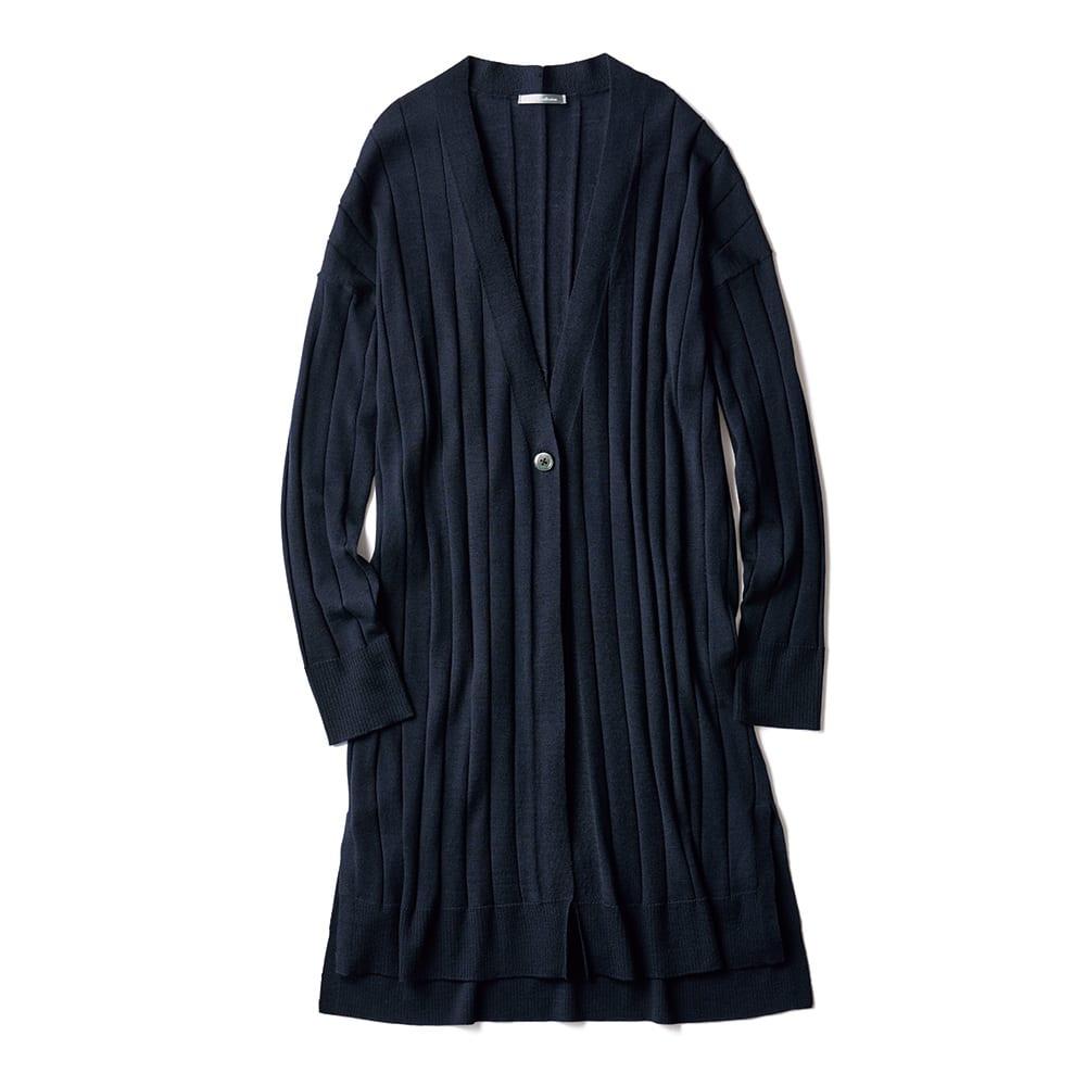 イタリア糸 ウール ワイドリブ編み ニットカーディガン