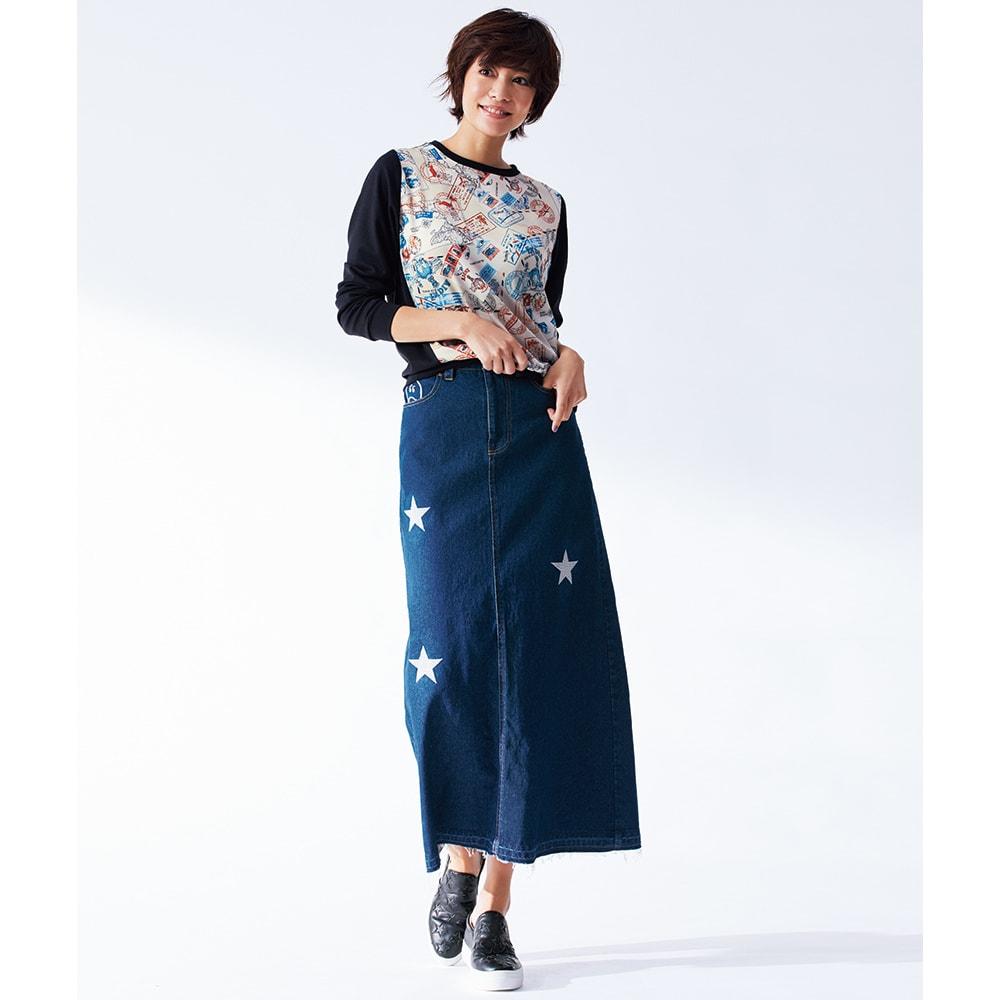 星とニコちゃん刺しゅう デニムスカート コーディネート例 /すらりとしたIラインで美バランスを強力アピール