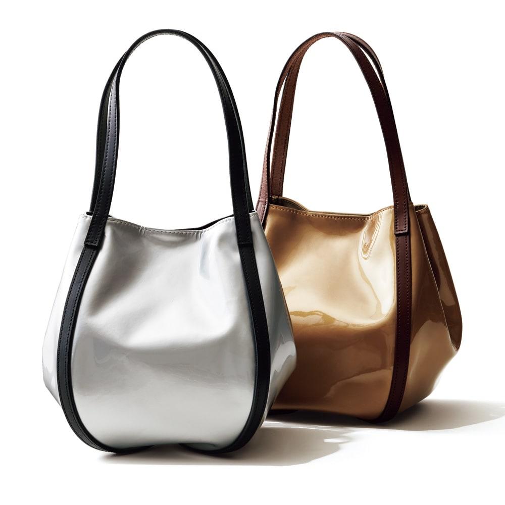 THOROUGH BRACE/サラブレイス 牛革 デザイン バッグ 左から (エ)シルバー (ウ)ゴールド