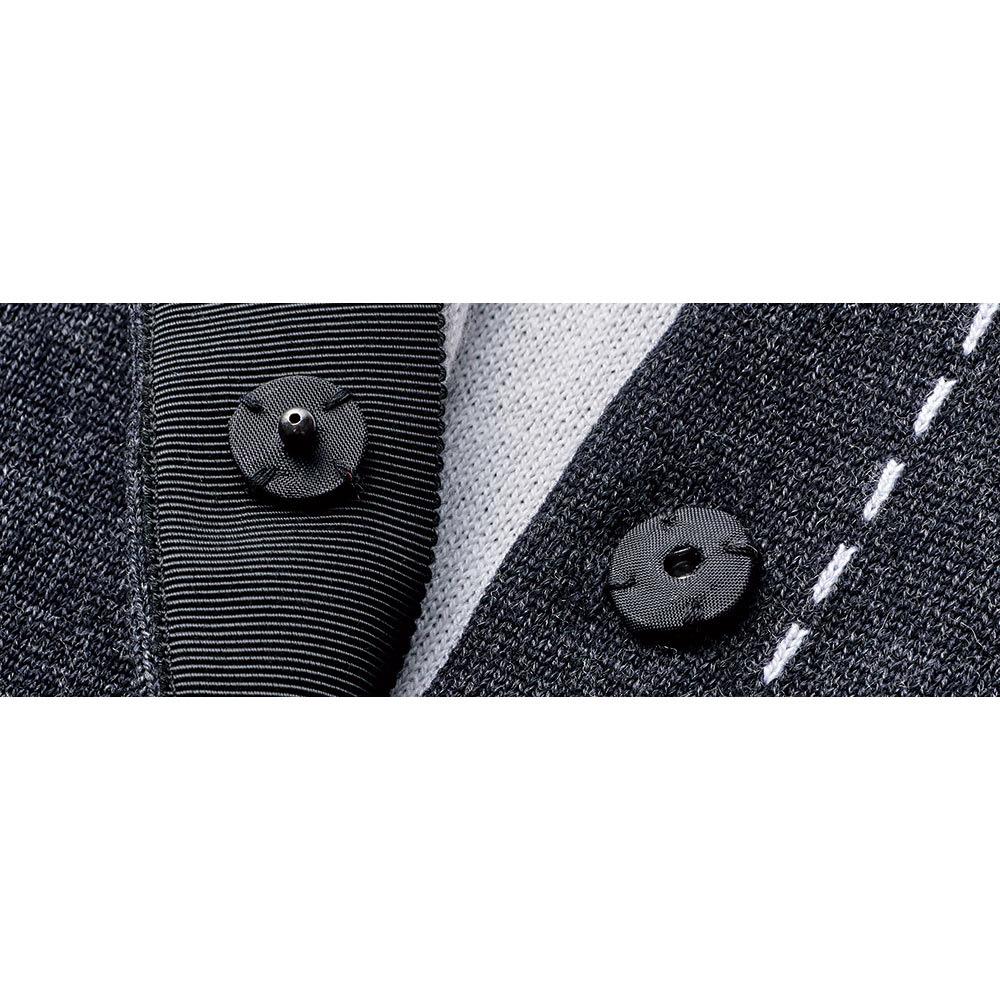 トロンプルイユ ライダース風 ニットジャケット くるみスナップボタン