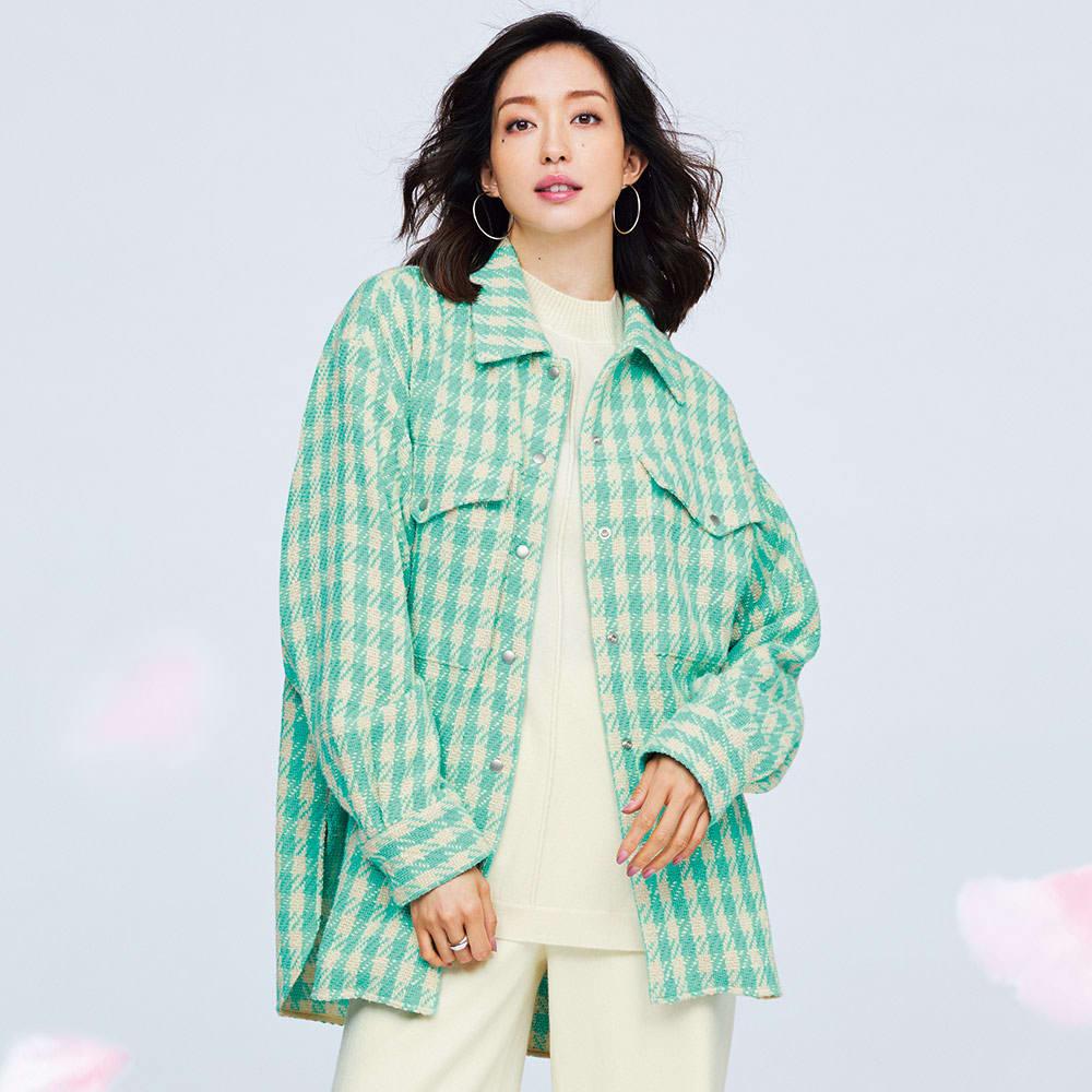 イタリア素材 オーバーサイズ ツイード シャツジャケット 着用例