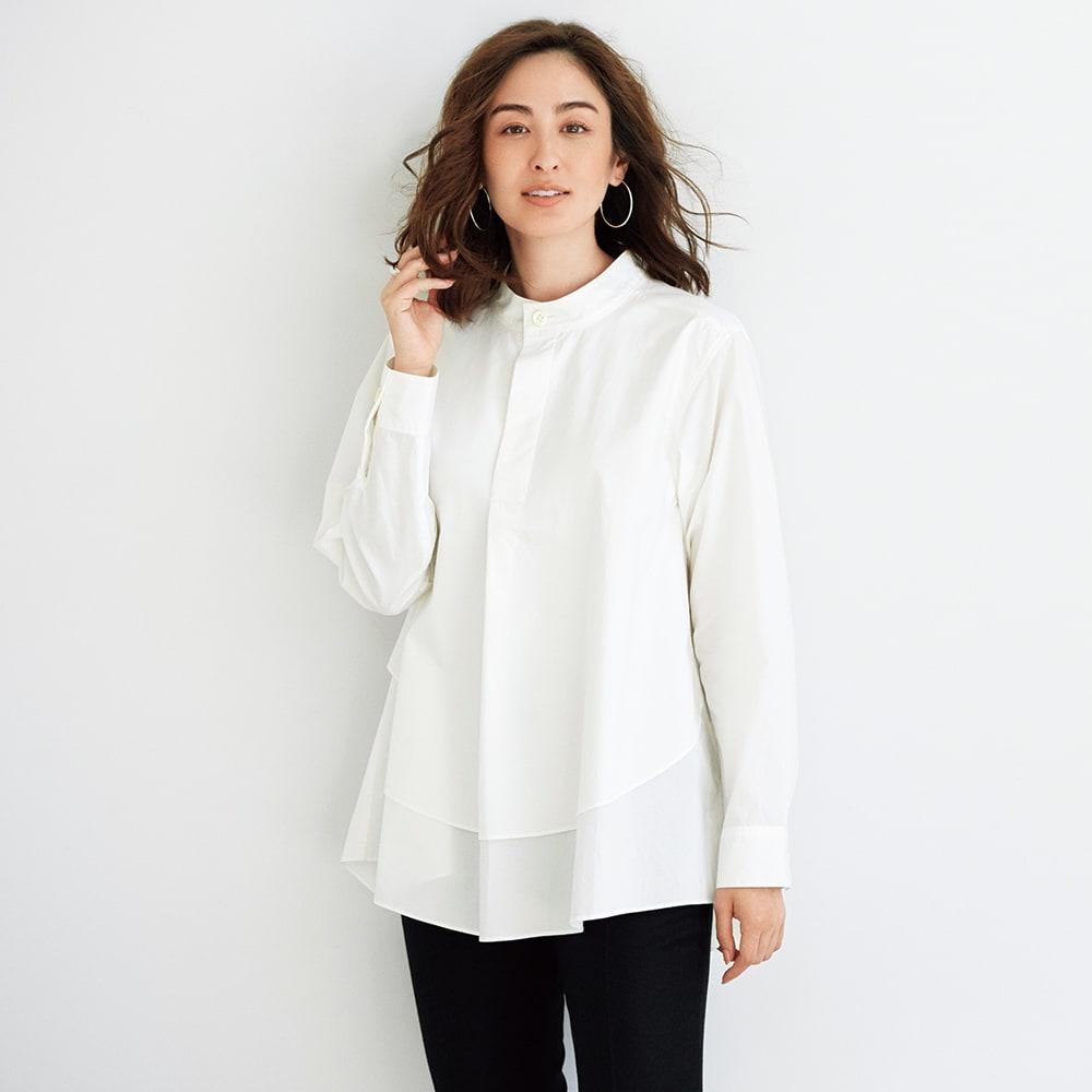 TEEE/ティー コットンタイプライター レイヤード風 バンドカラーシャツ コーディネート例