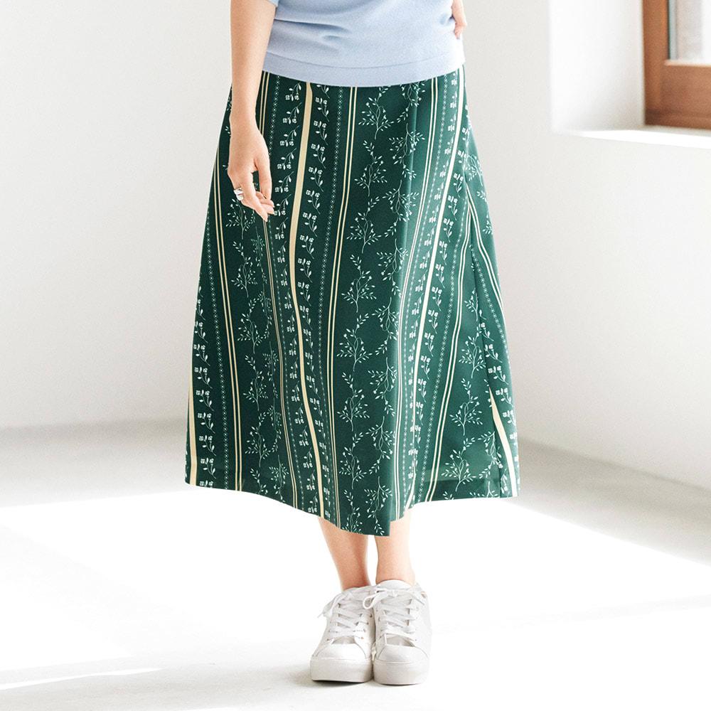 フラワー ストライプ柄 ラップ風 Aライン スカート 着用例