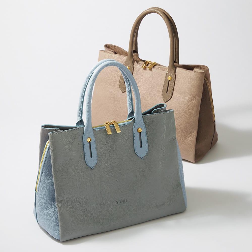 バイカラー トートバッグ(イタリア製) 左から (ア)グレー×ブルー (イ)ベージュ×ブラウン