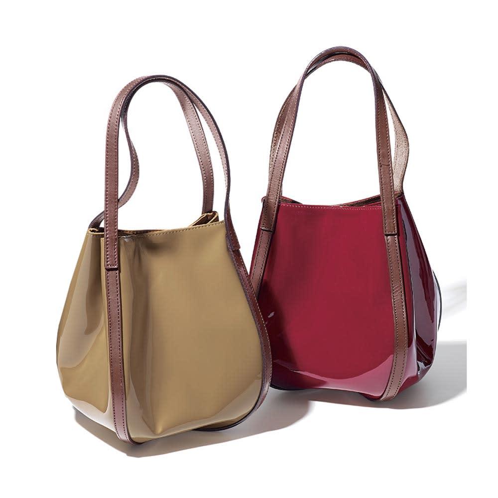 THOROUGH BRACE/サラブレイス 牛革 デザイン バッグ 左から (イ)トープ (ア)ボルドー